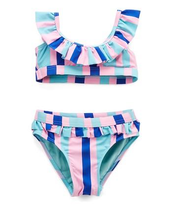 a15d51c1a99 Pink & Teal Stripe Ruffle-Trim Bikini - Toddler & Girls