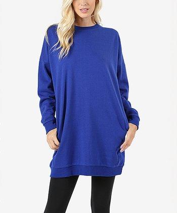 Denim Blue Oversize Sweatshirt - Women 235a1b0b0