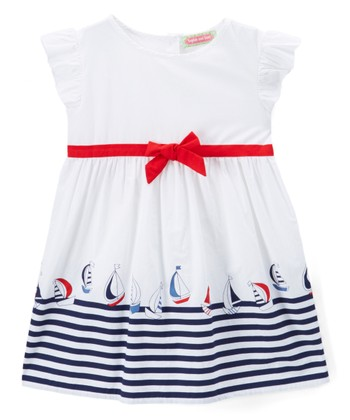 2f4415537 White Sailboat A-Line Dress - Toddler   Girls · Red   White Whale Boatneck  Dress - Infant ...
