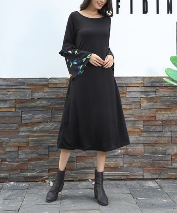 2b4a1b01e133 Black Floral-Accent Bell-Sleeve Midi Dress - Plus