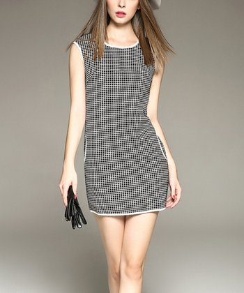 3473aa755 Black & White Windowpane Sheath Dress - Women
