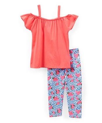 f124b3369f0bb Peach Off-Shoulder Tunic & Leggings Set - Infant