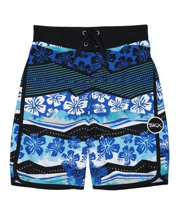 b99e2000e192 Blue   Black Floral Boardshorts - Boys