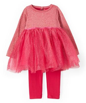 56070879e17843 Pink Metallic Tutu Dress & Leggings - Infant, Toddler & Girls