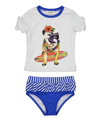 f533a59440d95 White   Blue Dog Rashguard Set - Toddler