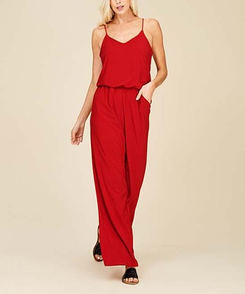 afb42f38ee50 Red Wide-Leg Sleeveless Jumpsuit - Women   Plus