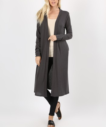 60ef17a349 Ash Gray Knee-Length Duster - Women
