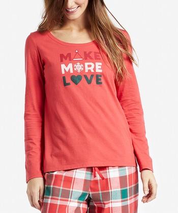 76a87ba9104 Americana Red Santa Hat  Make More Love  Long-Sleeve Sleep Tee - Women