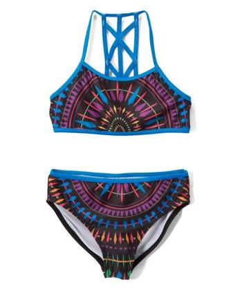 4c6d1a5b1a Blue   Red Geometric Bikini - Girls