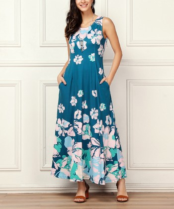 a7ba806350 Turquoise Floral Sleeveless Side-Pocket Maxi Dress - Women