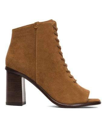 5d602e5eeff5 Nutmeg Amy Lace-Up Suede Peep-Toe Bootie - Women