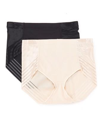 a0a908ef96a8 Cream & Black Geometric Tummy Panel Compression Brief Set - Women ·  Cranberry ...