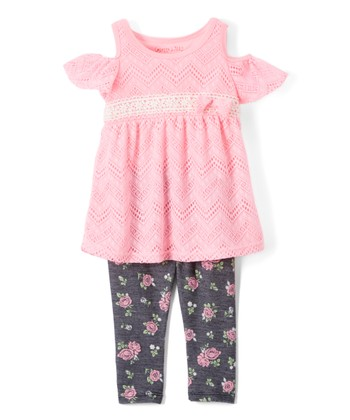 aab371f1b9e0e Pink Cutout Tunic   Floral Leggings - Girls