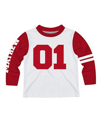 424f3fc3 White & Red Personalized Long-Sleeve Tee - Infant, Toddler & Boys