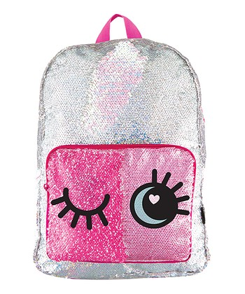 040a0631f3 Pink   Silver Magic Sequin Eyes Backpack