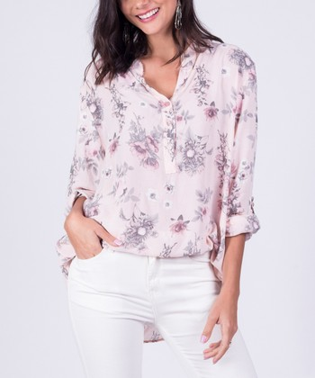 3f803c382f0 Pink Floral Button-Front Top - Women
