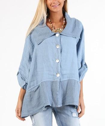 e45775bed25b5 Jean Color Block Linen Button-Up Top - Women