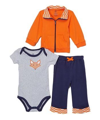 9f117444faab Orange   Navy Fox Jacket Set - Newborn   Infant