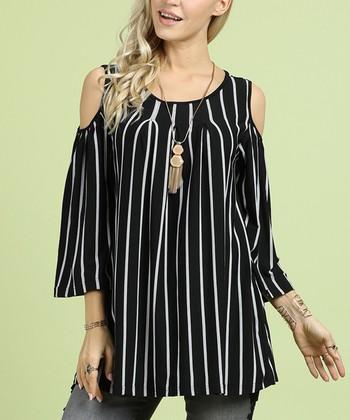 2ea8b3cd8f Black & White Stripe Cutout Tunic - Women
