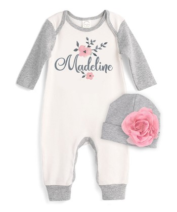 08409666505 Ivory   Gray Floral Personalized Playsuit   Beanie - Newborn   Infant