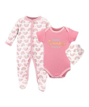 f4bcbb14e Pink & White 'Brand Sparkling New' Bodysuit Set - Newborn & Infant