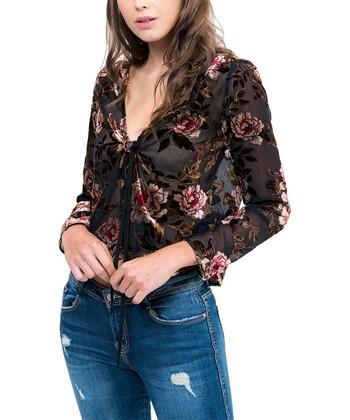5ce0385b14ee0 Black Floral Burnout Tie-Front V-Neck Top - Women