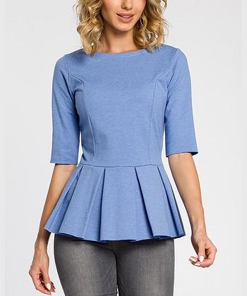 42446b55d69 Blue Knit Peplum Top - Women