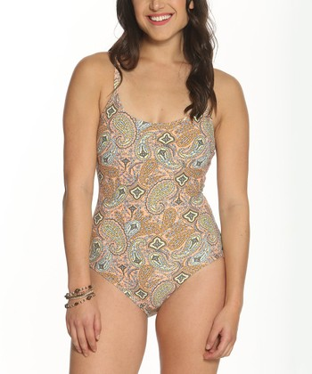 74bcf3375bd26 Peach Paisley Strap One-Piece Swimsuit - Women
