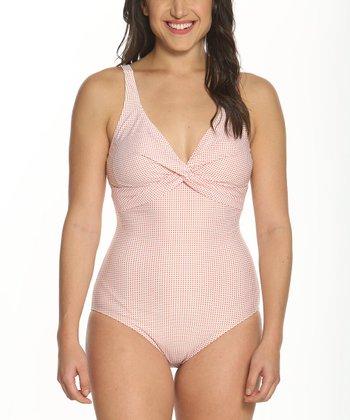 449e574d31de9 Coral Dots Twist-Front One-Piece Swimsuit - Women