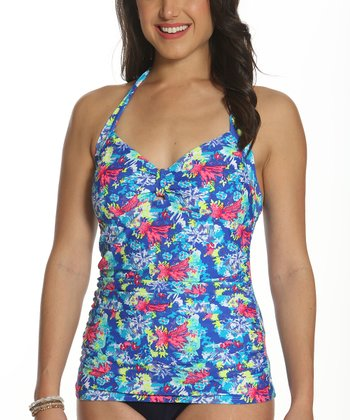 09fe0a2d12 Blue & Pink Abstract Bow-Front Halter Tankini Top - Women