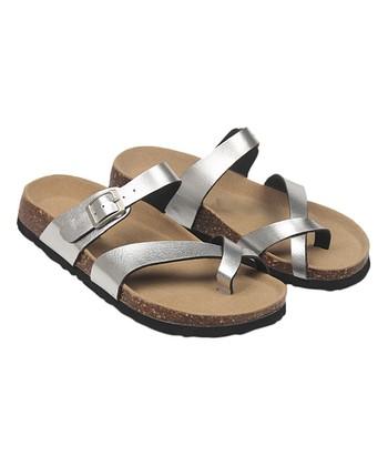 ff1a3b74a09 Silver Crisscross Sandal - Women · Black T-Strap ...