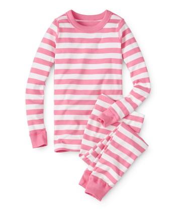 Adventure Pink   Hanna White Organic Cotton Long John Pajama Set - Girls 6e0260f8f
