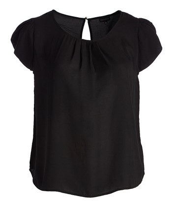 788af51fc78ea2 Black Cutout Pleated Cap-Sleeve Top - Plus