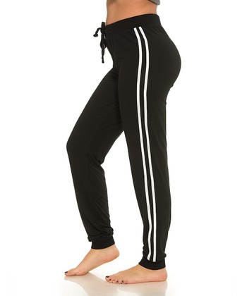 c7721900c Black Double-Stripe Yummy Long Joggers - Women