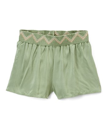 20d15a78b Hedge Green Embroidered Shorts - Girls