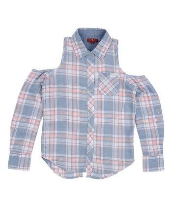 ed832fd8b567 Blue   Red Plaid Cutout-Shoulder Button-Up - Girls