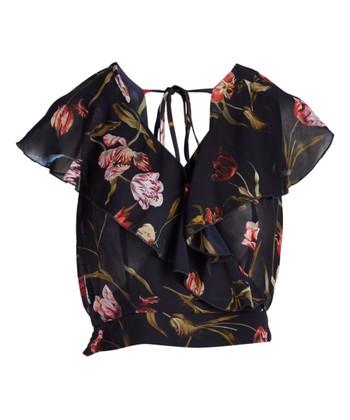 baccb44a367f6 Black Floral Brianna Surplice Top - Women