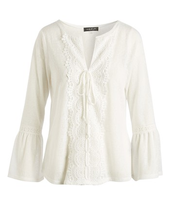 ae0445f197db1 White Bell-Sleeve Tie-Accent Notch Neck Top - Women