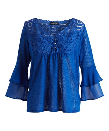 c28d4e4e29dcf Blue Burst Sheer Ruffle-Sleeve Empire-Waist Top - Women
