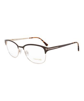 305fcee4b97 Dark Brown   Gold Square Half-Rim Eyeglasses