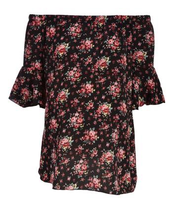 8d42f65c5798c Black Floral Ruffle-Sleeve Maternity Off-Shoulder Top