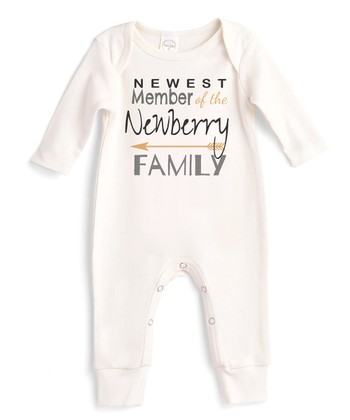 e2f2d9a7ed4 Ivory  Newest Member Of The Family  Personalized Romper - Newborn   Infant