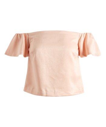 601e957311a81 Blush Ruffle-Sleeve Claire Off-Shoulder Top - Women