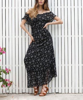17d109f6d7e Black Floral Off-Shoulder Peasant Maxi Dress - Women