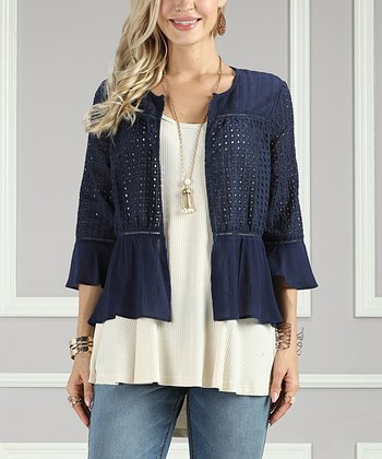 9ef7268d55f33c Navy Eyelet Lace Jacket - Women & Plus