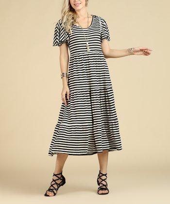 255529f6 Black & Cream Stripe Tiered Midi Dress - Women