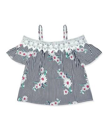 1151ee1b46f46 Black Stripe   Floral Crochet-Accent Off-Shoulder Top - Toddler   Girls