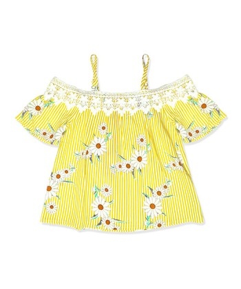 0df4e11b63269 Yellow Stripe   Floral Crochet-Accent Off-Shoulder Top - Girls