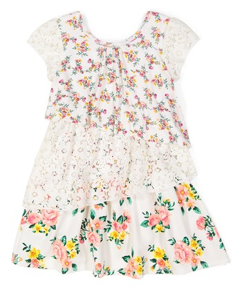 d03726d23a56 Ivory Floral & Lace Tiered Swing Dress - Toddler