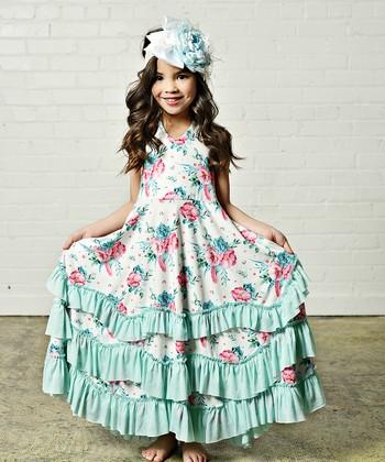 cab2f50b4a5 Aqua & Light Pink Floral Ruffle Maxi Dress - Toddler